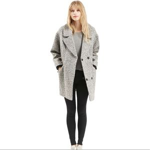 TOPSHOP Slouchy Boucle Wool-Blend Coat